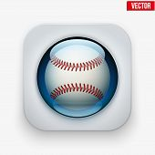 Sports Button With Ball Under Glass For Website Or App.