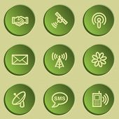 Communication web icons, green paper stickers set