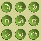 Audio video edit web icons, green paper stickers set