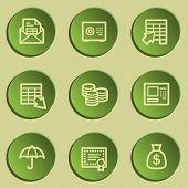 Banking web icons, green paper stickers set