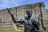 Statue Of Roman Emperor Trajan And Remains Of London Wall