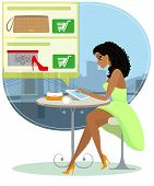 Pretty blackhair woman sitting alone in the cafe and doing shopping online