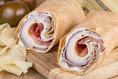 picture of sandwich wrap  - Italian style meet and cheese wrap sandwich - JPG