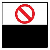 Blank Stop Forbidden Sign Symbol Zone Vector On Black White Background