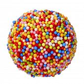 a candy ball coated with nonpareils of different colors on a white background