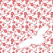 Red and white traditional Asian saruka and crane design