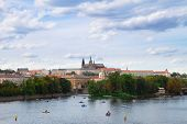 embankment of Vltava  with Vitus cathedral, Prague