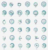 Minimal thin line design web icon set, universal logotypes, stampls and labels