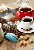 Fresh coffee with several ingredients