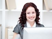 Jolly Businesswoman Working At A Computer
