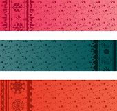 Colorful Indian floral saree horizontal banners