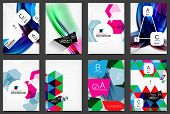 Set of modern flyers, brochures. Abstract backgrounds, online web presentation layouts