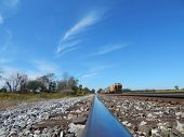 railroad view with blue sky