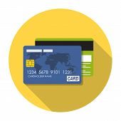 Credit Card Icon Flat Concept Vector Illustration