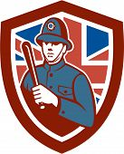 British Bobby Policeman Truncheon Flag Shield Retro