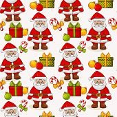 Christmas Seamless Background With Santa. Vector Pattern.