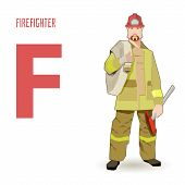 flat vector profession Letter F - firefighter