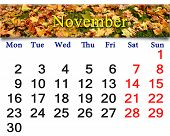 Calendar For November Of 2015 With The Yellow Leaves