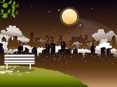 Romantic moon night scene