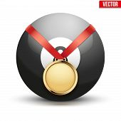 Sport gold medal with ribbon for winning pool billiard hangs on the ball.