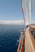 luxury wooden sailboat