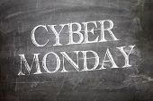 Cyber Monday written on blackboard