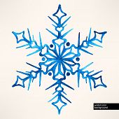 Watercolor Hand-drawn Snowflake