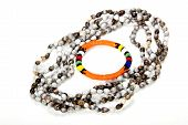 foto of zulu  - zulu beaded necklace with bright orange armband - JPG