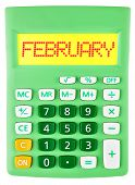 Calculator With February On Display Isolated