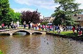 Tourists on bridge, Bourton on the Water.