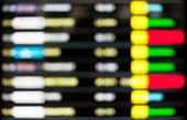 High Key Blurred Image Of Departure And Arrivals Electronic Schedule Board In Airport.
