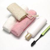 Towel Loofah Liquid Soap And Toothbrush
