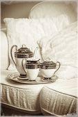 Antique tea set with vintage tone