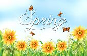 Spring season text with flowers