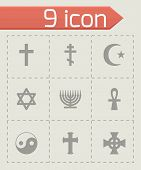 foto of triskele  - Vector religious symbols icon set on grey background - JPG