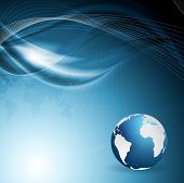 Technology corporate background with waves and globe. Vector design