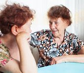 Two seniors. Old woman talking. Friendship elderly