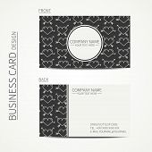 Vintage creative simple  business card template. Vector design eps10. Line seamless pattern with hea