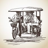Sketch of tricycle moto taxi with tourist Hand drawn vector illustration