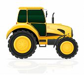 Yellow Tractor Vector Illustration