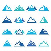 Mountain vector blue icons set
