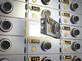 image of vault  - Safe deposit boxes in a bank vault - JPG