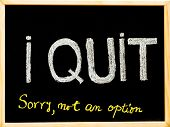 I Quit Sorry Is Not An Option Message, Handwriting With Chalk On Wooden Frame Blackboard