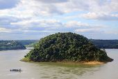 Acaray island on the border of Brazil and Paraguay