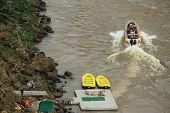 few inflatable boats near Iguacu waterrfalls