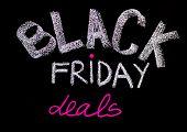 Black Friday Deals Advertisement Handwritten With Chalk On Blackboard
