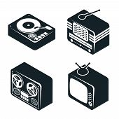 Isometric 3D Icons of Retro Media Devices