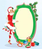 Blond Xmas Girl Wearing Santa Claus Suit Staying Next To Frame. Christmas And New Year Card Design.