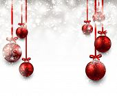 Abstract background with red christmas balls. Vector illustration.