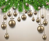 Christmas illustration with fir twigs and golden balls. Vector background.